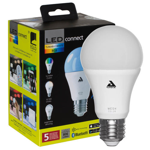 Bluetooth-LED-Lampe, LED-CONNECT, AGL-Form, matt, E27/9W RGB + 3000K